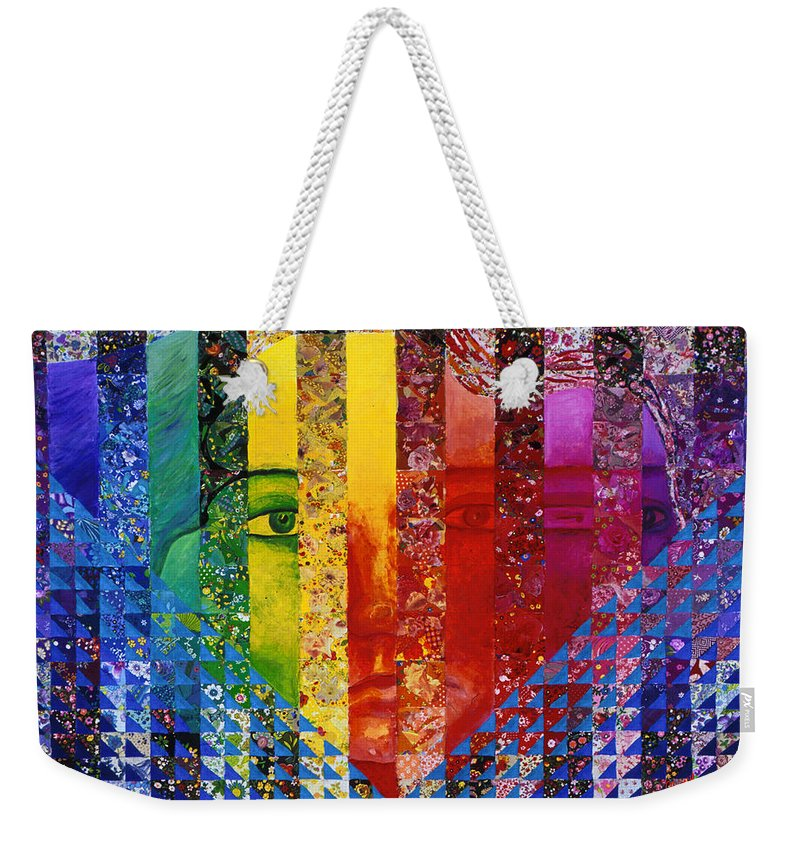 Colorful Weekender Tote Bag featuring the mixed media Conundrum I - Rainbow Woman by Diane Clancy