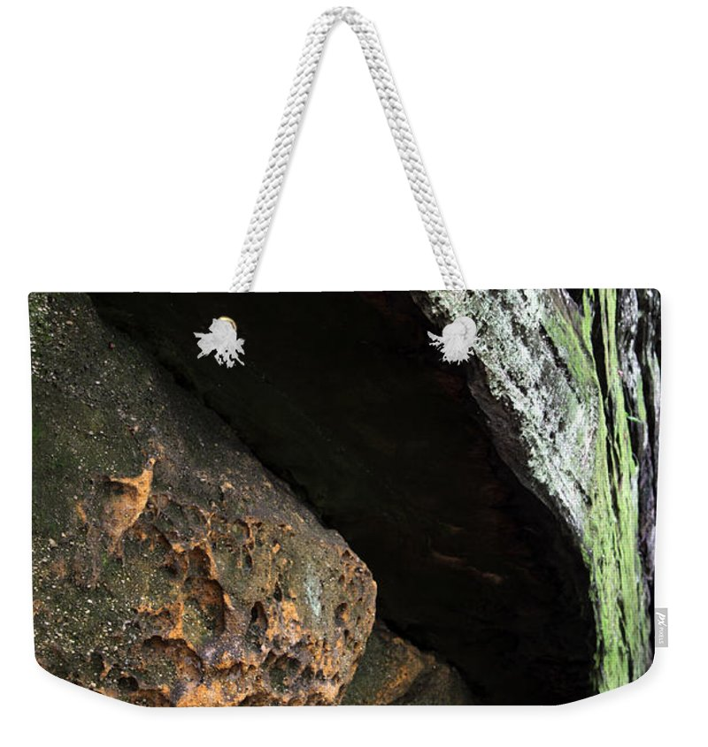 Rocks Weekender Tote Bag featuring the photograph Convergence by Amanda Barcon