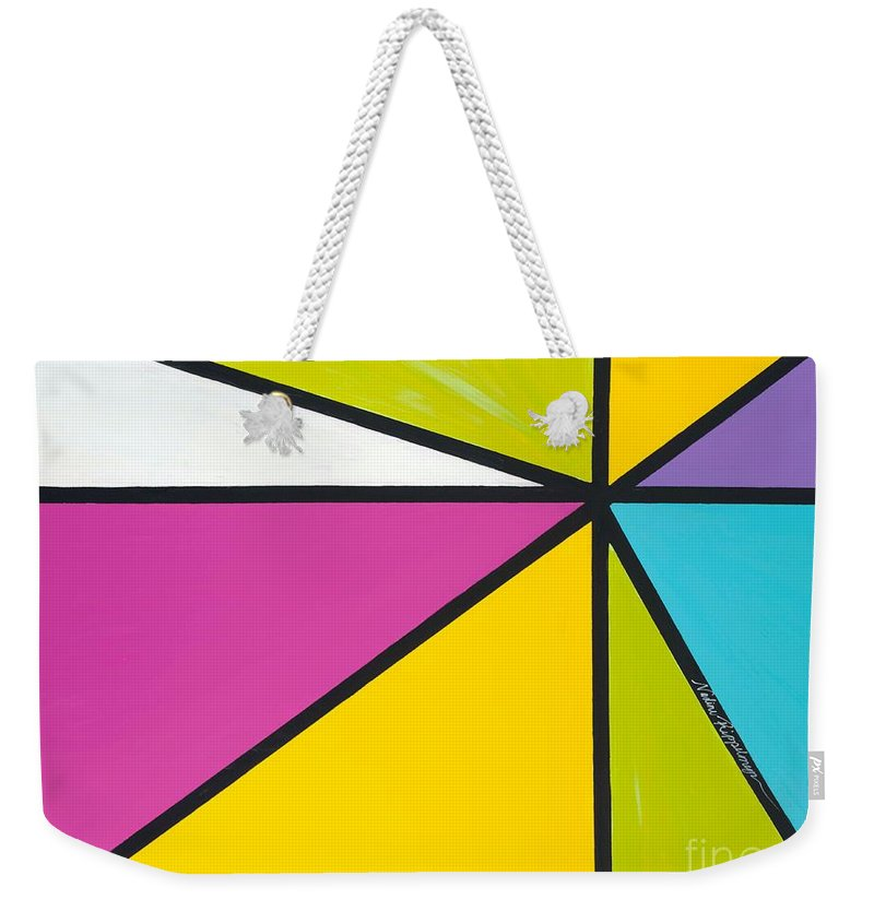 Lines Weekender Tote Bag featuring the painting Convergence by Nadine Rippelmeyer