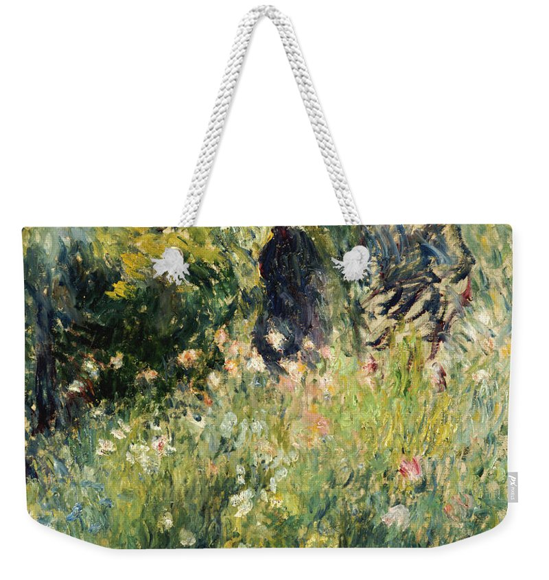 Impressionism; Impressionist; Female; Talking; Flower; Plant; Conversation In A Rose Garden Weekender Tote Bag featuring the painting Conversation In A Rose Garden by Pierre Auguste Renoir