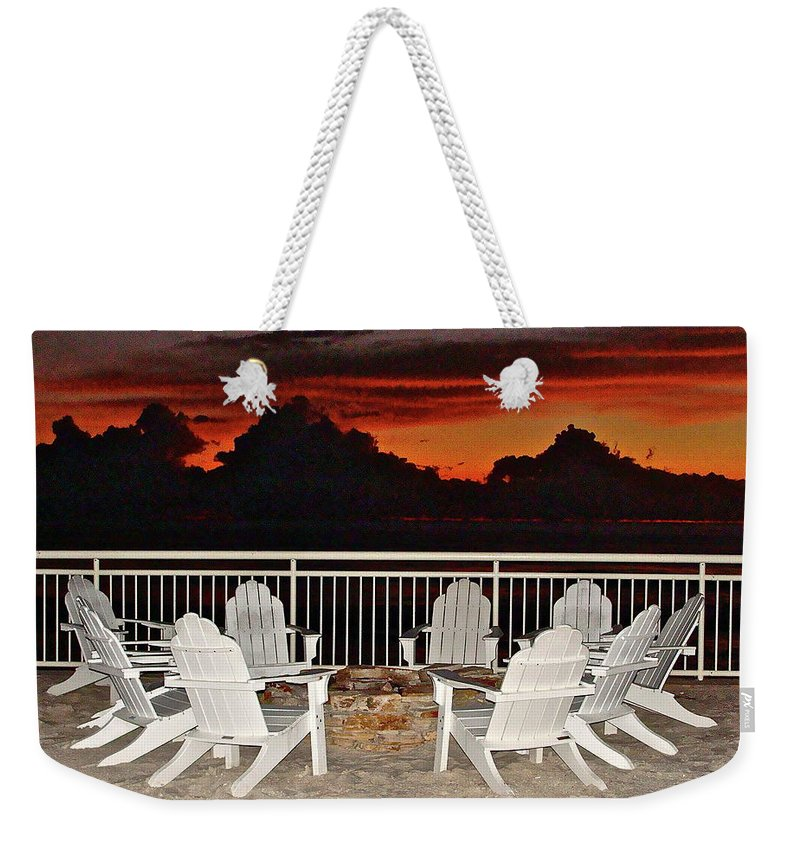 Beach Weekender Tote Bag featuring the photograph Conversations Coming by Diana Hatcher