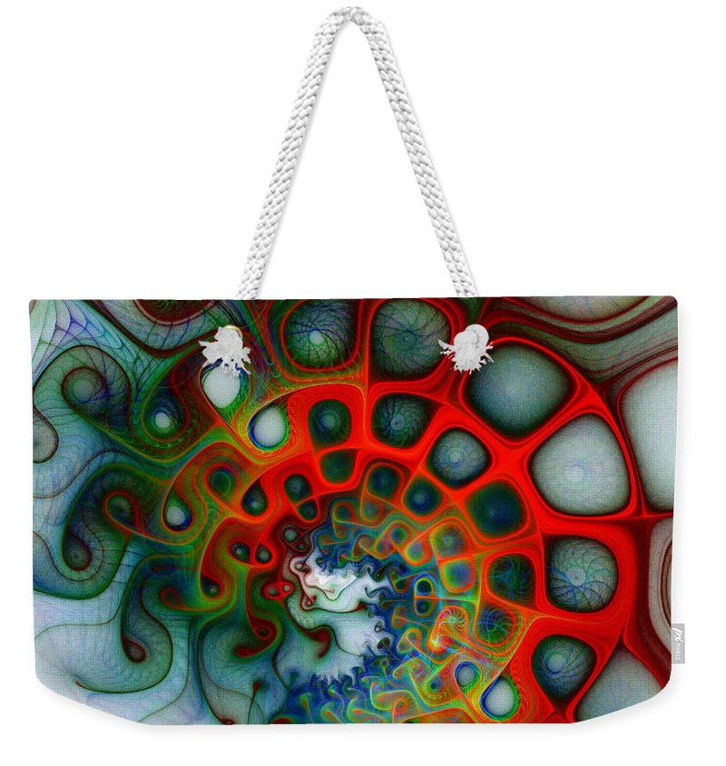 Digital Art Weekender Tote Bag featuring the digital art Convolutions by Amanda Moore