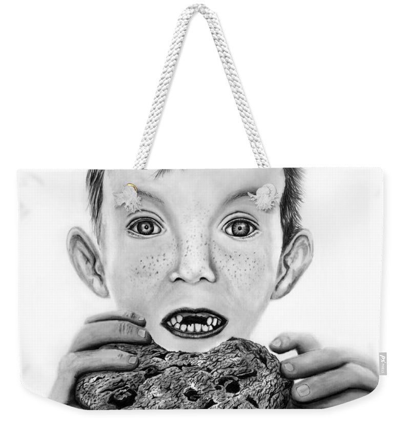 Cookie Surprise Weekender Tote Bag featuring the drawing Cookie Surprise by Peter Piatt