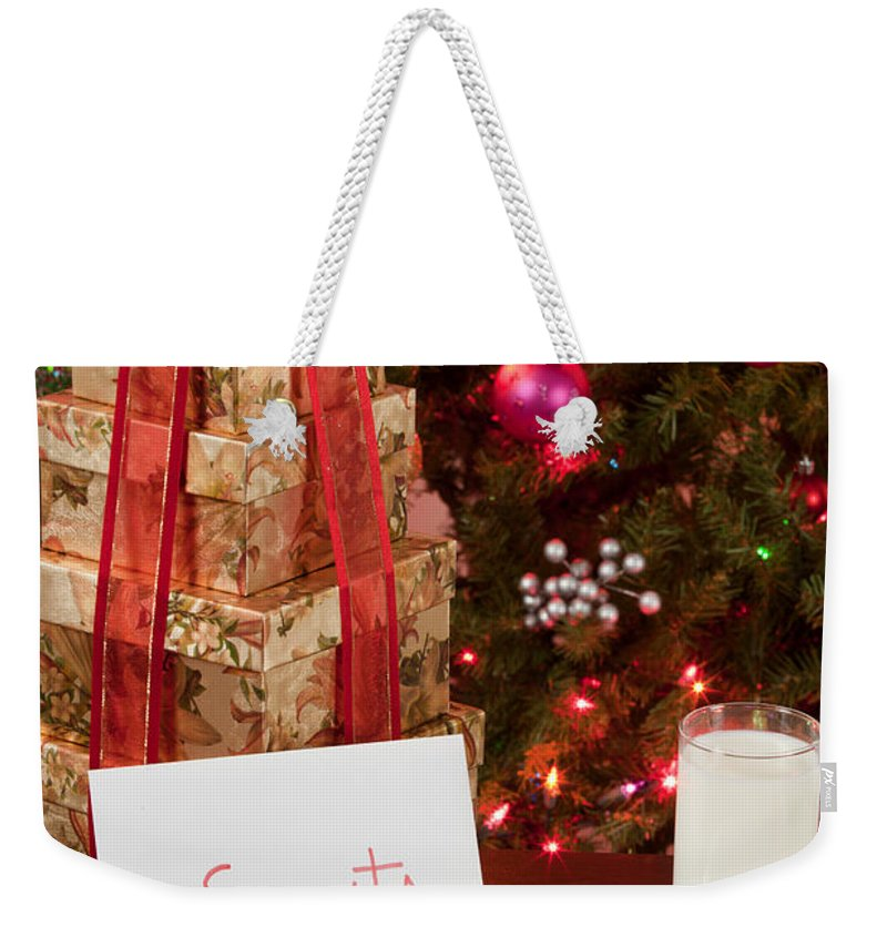 Cookies Weekender Tote Bag featuring the photograph Cookies And Milk For Santa by Anthony Totah