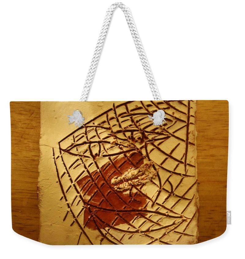 Jesus Weekender Tote Bag featuring the ceramic art Cookies Eye - Tile by Gloria Ssali