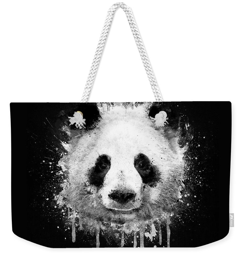 Cool Abstract Graffiti Watercolor Panda Portrait In Black And White Weekender Tote Bag