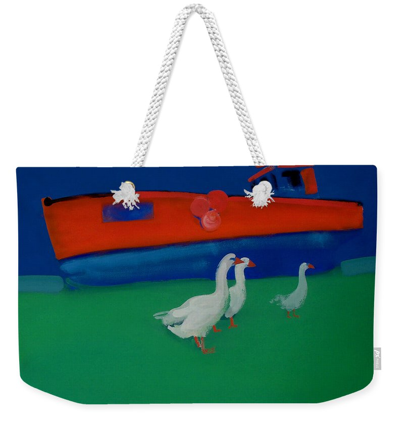 Geese Weekender Tote Bag featuring the painting Cool And Dry by Charles Stuart