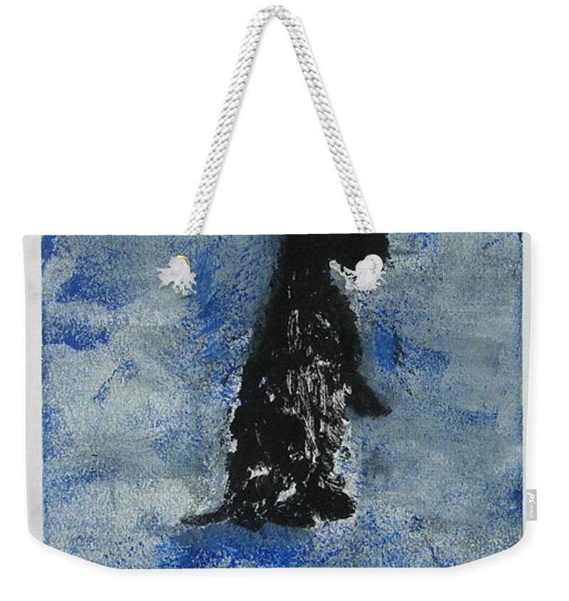 Monotype Weekender Tote Bag featuring the mixed media Cool Blue by Cori Solomon