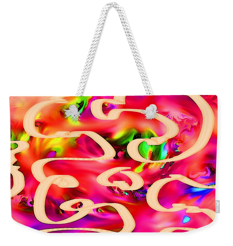 Abstract Weekender Tote Bag featuring the digital art Cool Colors by Rachel Christine Nowicki