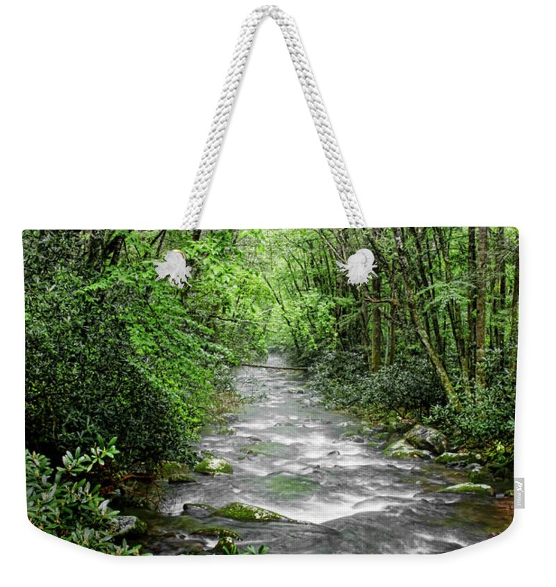 Water Green Stream Creek Flowing Water Park Nature Wild River Trees Forest Weekender Tote Bag featuring the photograph Cool Green Stream by Shari Jardina