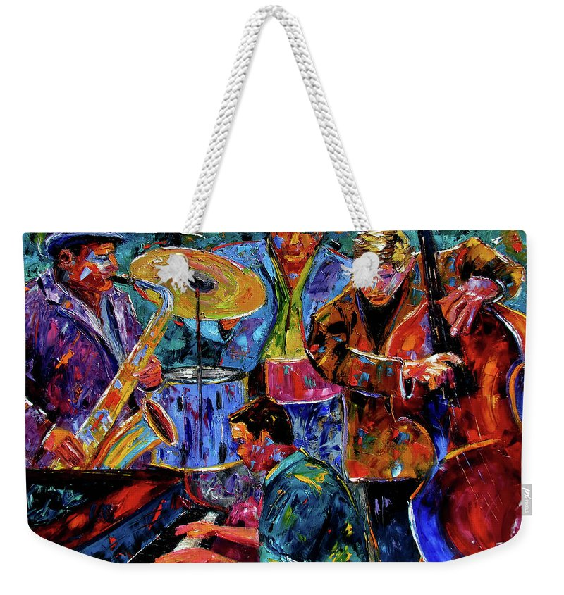 Abstract Weekender Tote Bag featuring the painting Cool Jazz by Debra Hurd