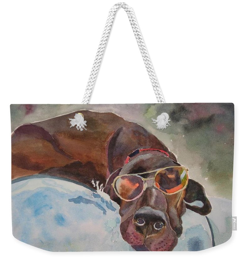 Dog Weekender Tote Bag featuring the painting Cool Lab With Sunglasses by Brenda Kennerly