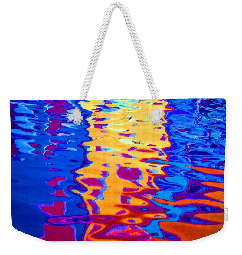 Abstract Weekender Tote Bag featuring the pastel Cool Meets Warm by Donna Corless