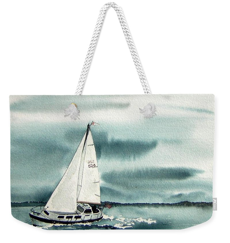 Sailing Weekender Tote Bag featuring the painting Cool Sail by Gale Cochran-Smith