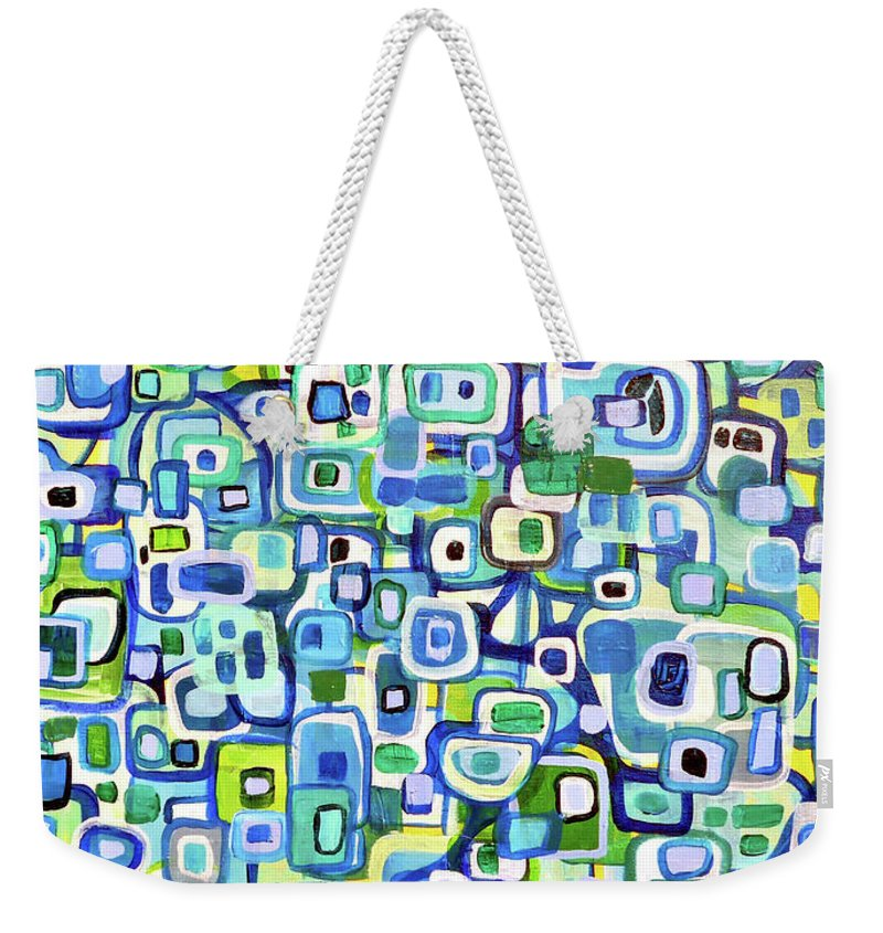 Shapes Weekender Tote Bag featuring the painting Cool Squares And Shapes by Larry Calabrese
