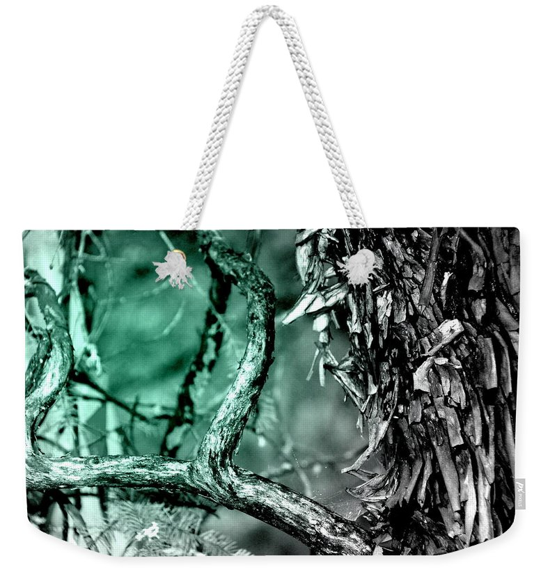 Teal Weekender Tote Bag featuring the photograph Cool Tone Madrone by Michele Hancock