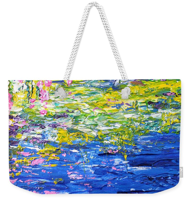 Water Weekender Tote Bag featuring the painting Cool Waters by Elaine Booth-Kallweit