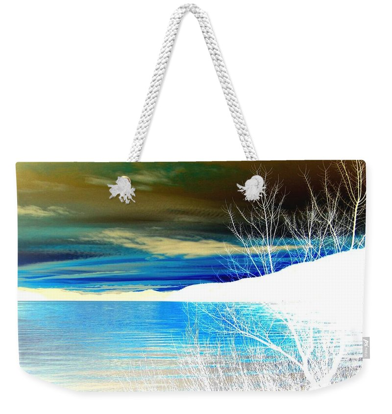 Winter Weekender Tote Bag featuring the digital art Cool Waters by Will Borden