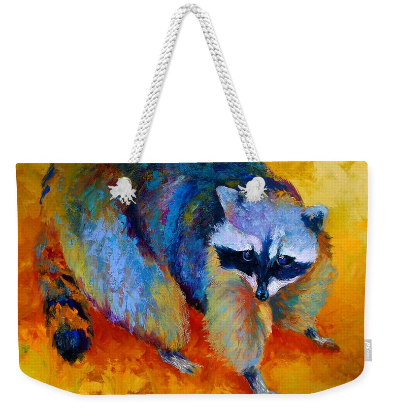 Racoon Weekender Tote Bag featuring the painting Coon by Marion Rose
