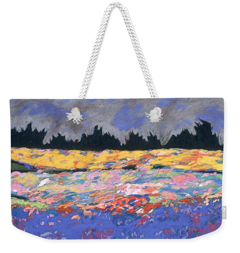 Oconomowoc Weekender Tote Bag featuring the drawing cooney sunset I by Mykul Anjelo
