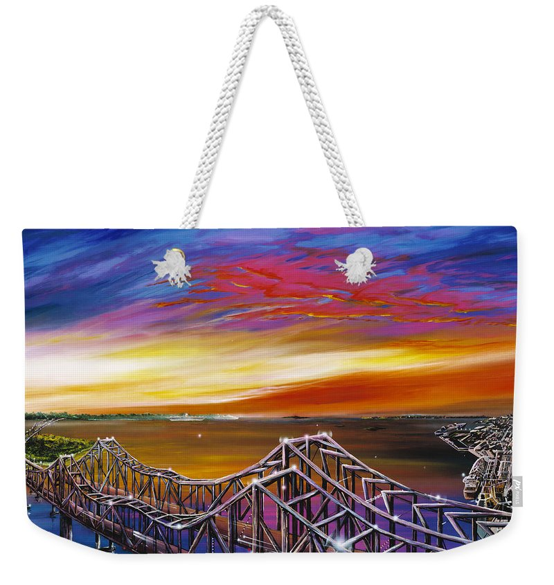 Clouds Weekender Tote Bag featuring the painting Cooper River Bridge by James Christopher Hill