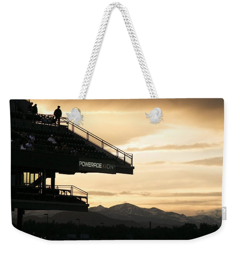 Americana Weekender Tote Bag featuring the photograph Coors Field At Sunset by Marilyn Hunt