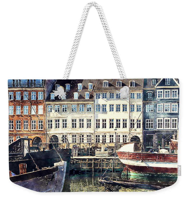 Digital Art Watercolor Weekender Tote Bag featuring the digital art Copenhagen, Nyhavn Harbor by Luisa Vallon Fumi