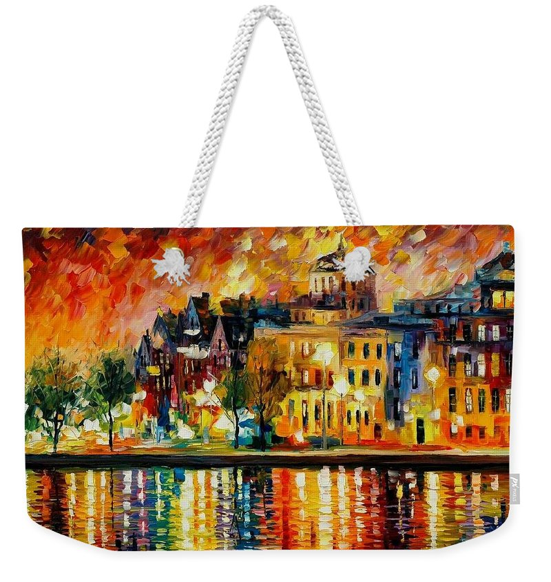 City Weekender Tote Bag featuring the painting Copenhagen Original Oil Painting by Leonid Afremov