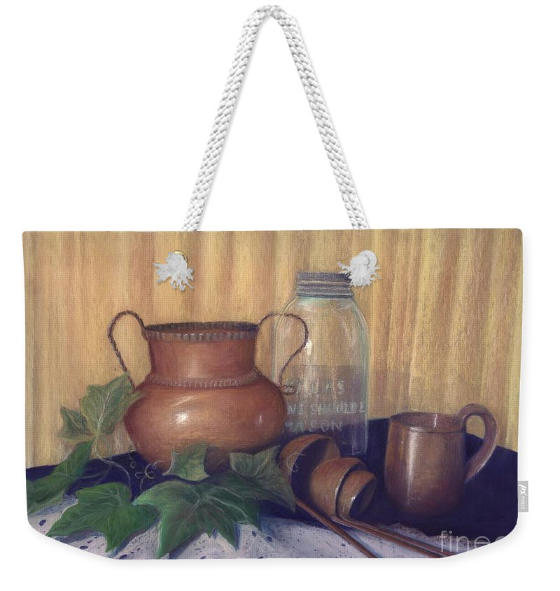 Pastel Art Work Weekender Tote Bag featuring the painting Copper And Glass by Penny Neimiller