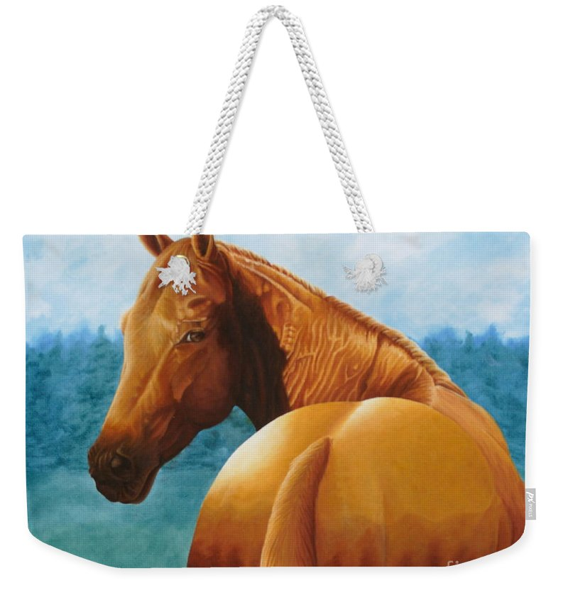 Oil Weekender Tote Bag featuring the painting Copper Bottom - Quarter Horse by Pauline Sharp