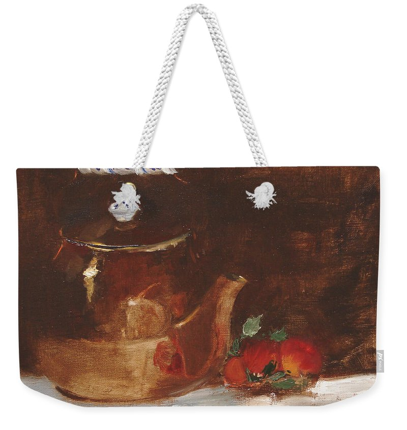Kitchen Weekender Tote Bag featuring the painting Copper Kettle by Barbara Andolsek