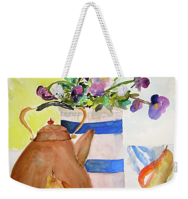 Copper Weekender Tote Bag featuring the painting Copper Kettle by Beverley Harper Tinsley