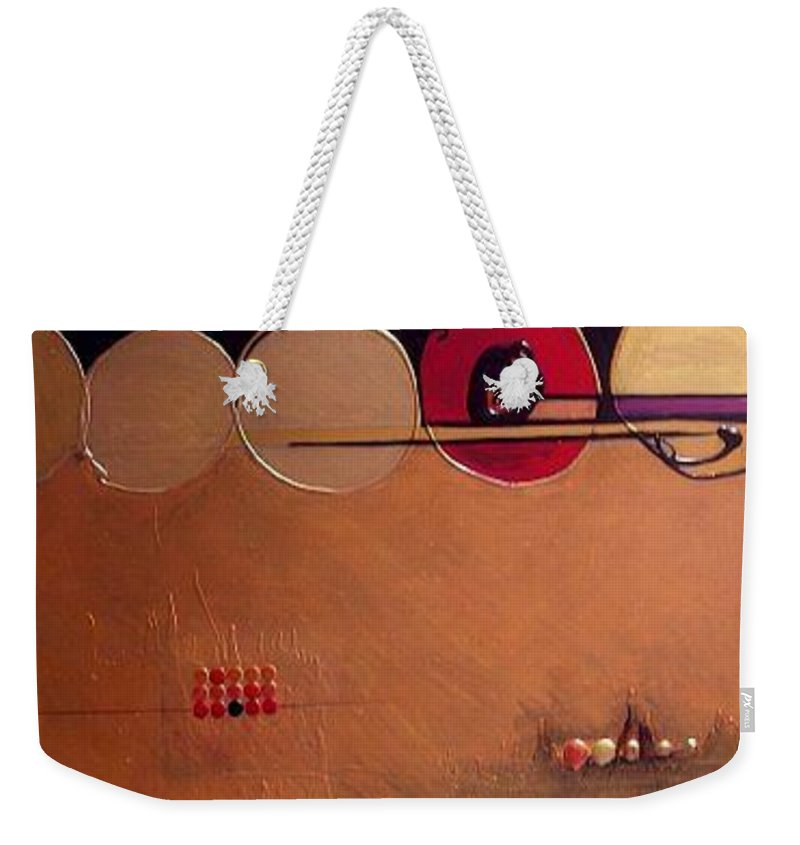 Mixed Media Weekender Tote Bag featuring the painting Coppermind by Marlene Burns