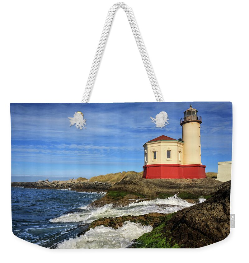 Coquille River Weekender Tote Bag featuring the photograph Coquille River Lighthouse At Bandon by James Eddy