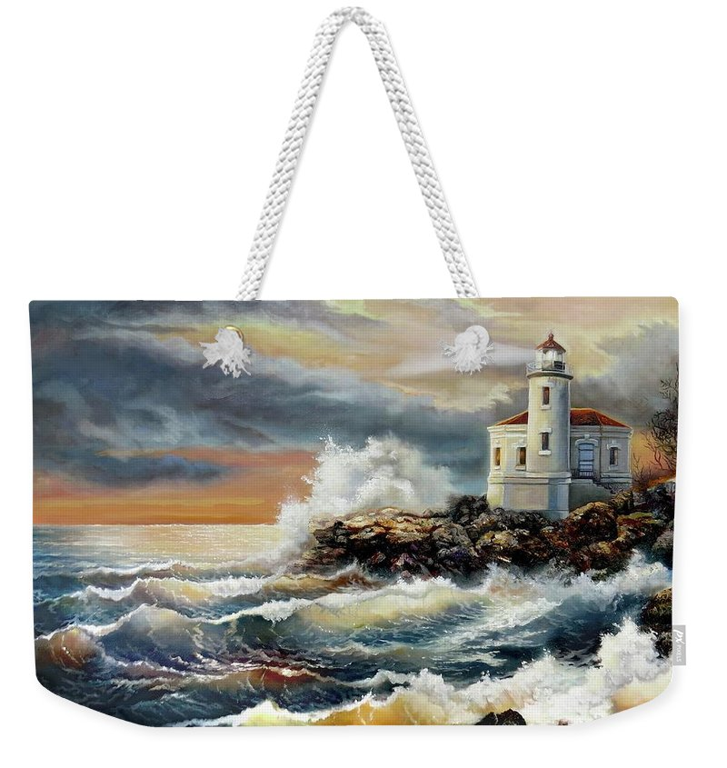Keywords Coquille River Lighthouse Oregon Weekender Tote Bag featuring the painting Coquille River Lighthouse At Hightide by Regina Femrite