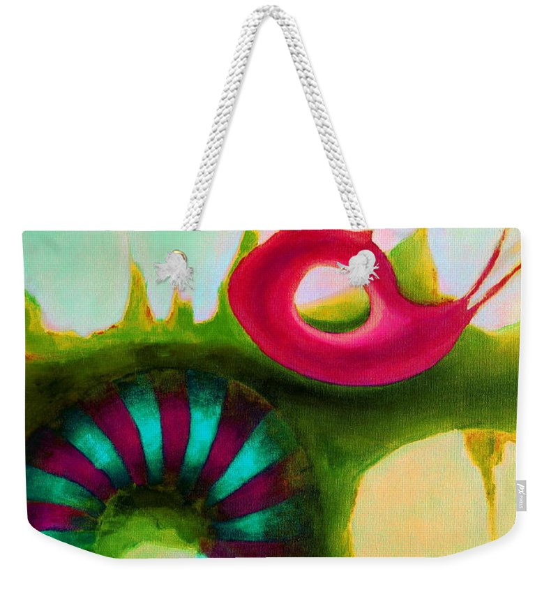 Armenian Weekender Tote Bag featuring the painting Coral Cavern 1.1 by Giro Tavitian