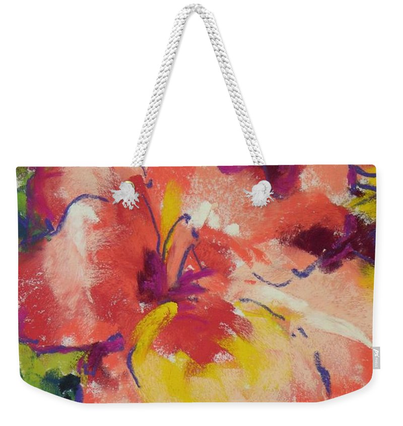 Flower Weekender Tote Bag featuring the painting Coral Glad by Mary McInnis