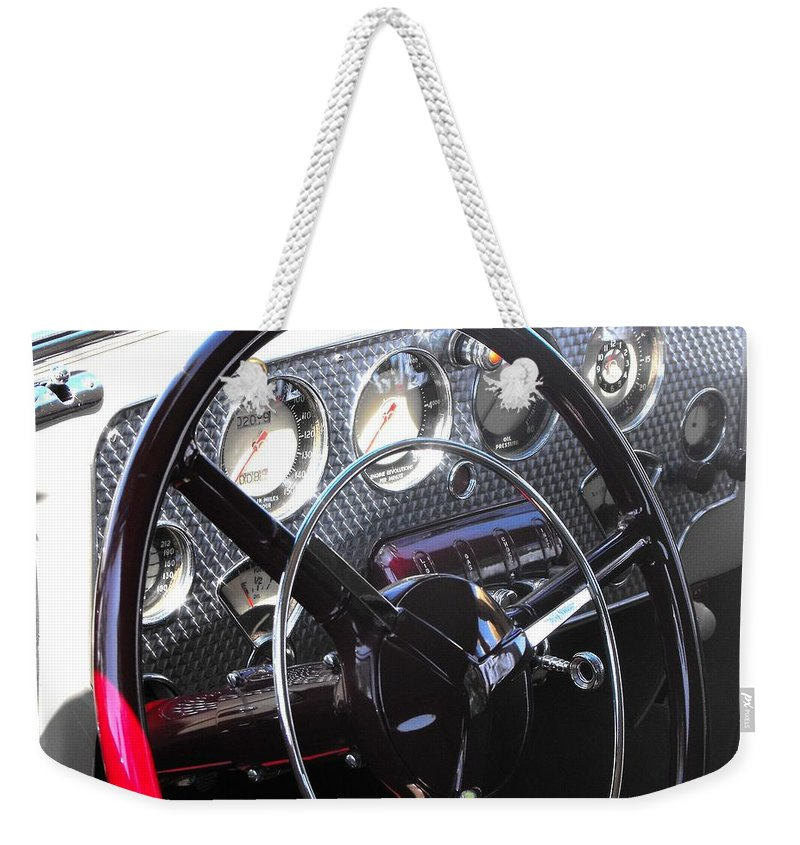 Cord Weekender Tote Bag featuring the photograph Cord Phaeton Dashboard by Neil Zimmerman