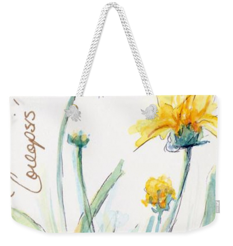 Yellow Weekender Tote Bag featuring the painting Coreopsis by CheyAnne Sexton
