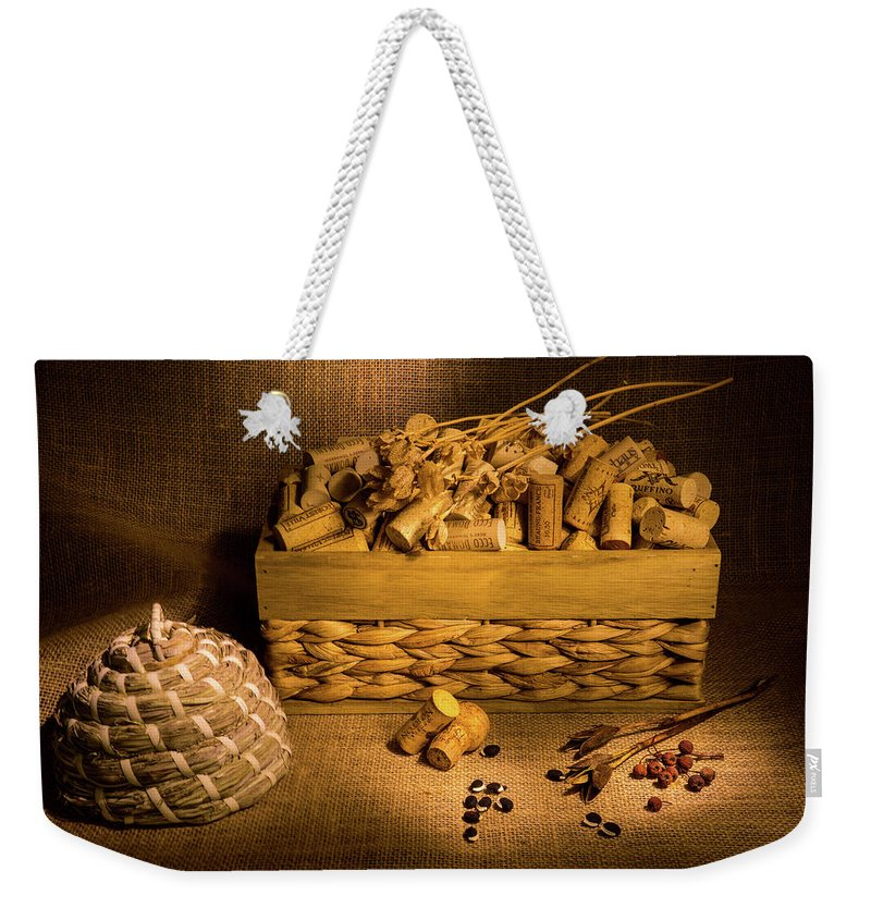 Cork Weekender Tote Bag featuring the photograph Cork And Basket 3 by Douglas Barnett