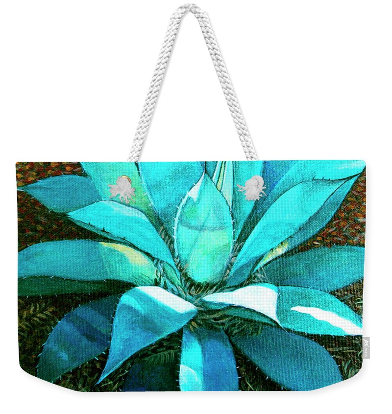 Cactus Weekender Tote Bag featuring the painting Corkscrew by Snake Jagger