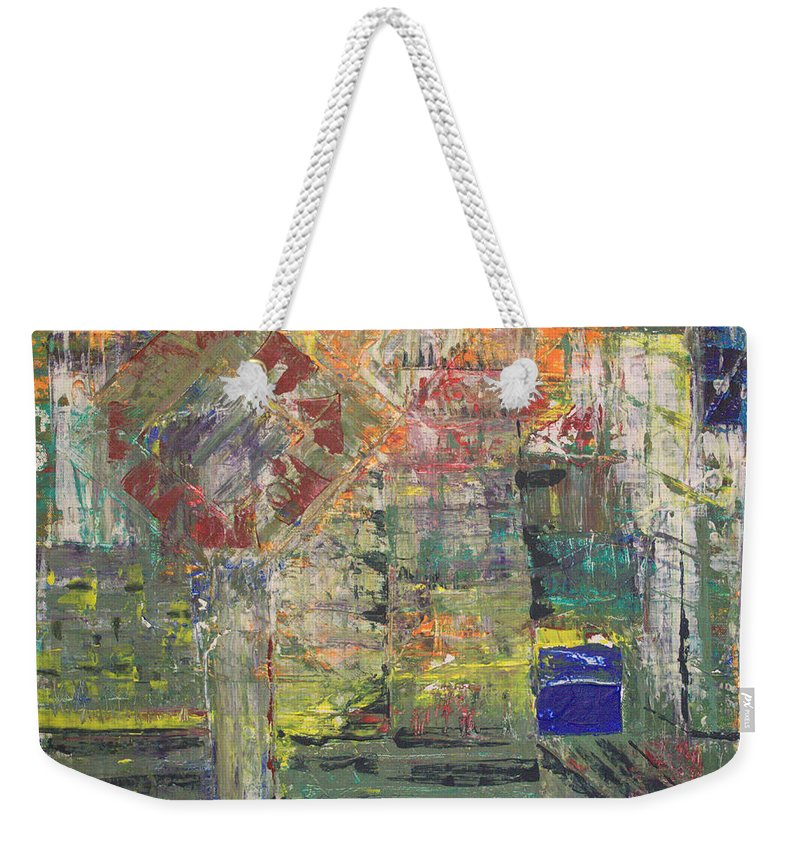 Abstract Painting Weekender Tote Bag featuring the painting Corner Deli by J R Seymour