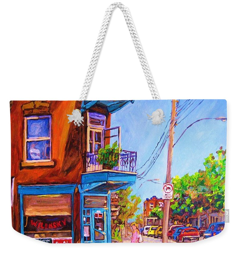 Wilenskys Corner Fairmount And Clark Weekender Tote Bag featuring the painting Corner Deli Lunch Counter by Carole Spandau
