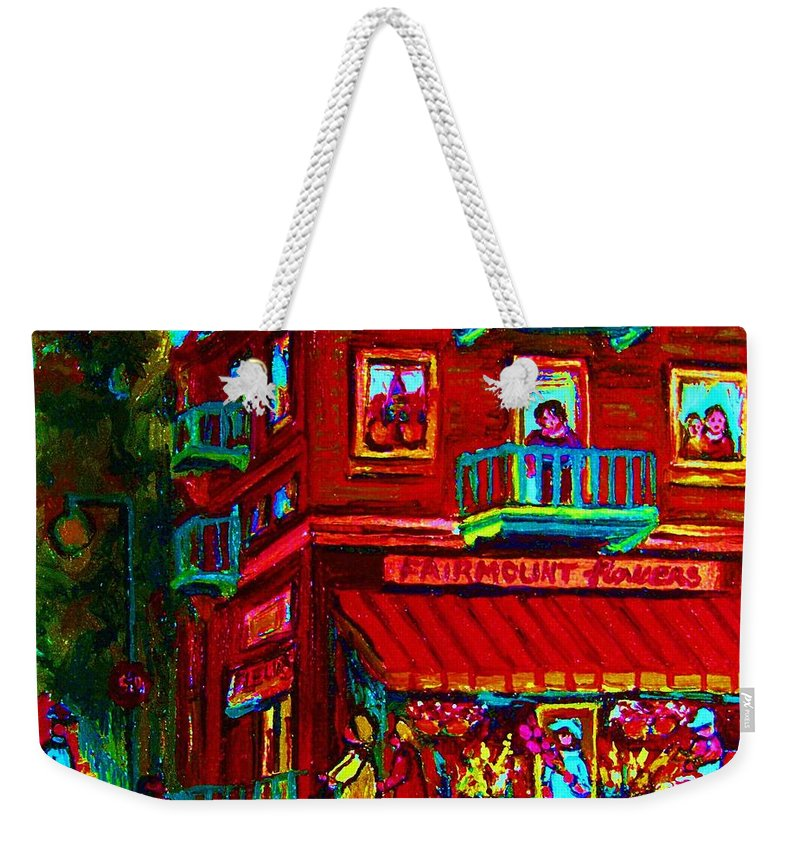 Flowershop Weekender Tote Bag featuring the painting Corner Flowershop by Carole Spandau