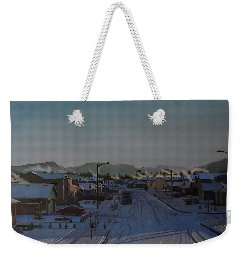 Winter Landscape Weekender Tote Bag featuring the painting Corner Of 157th St. And 168th Ave. by Thu Nguyen