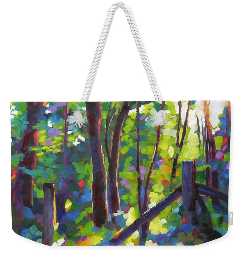 Trees Weekender Tote Bag featuring the painting Corner Post by Mary McInnis
