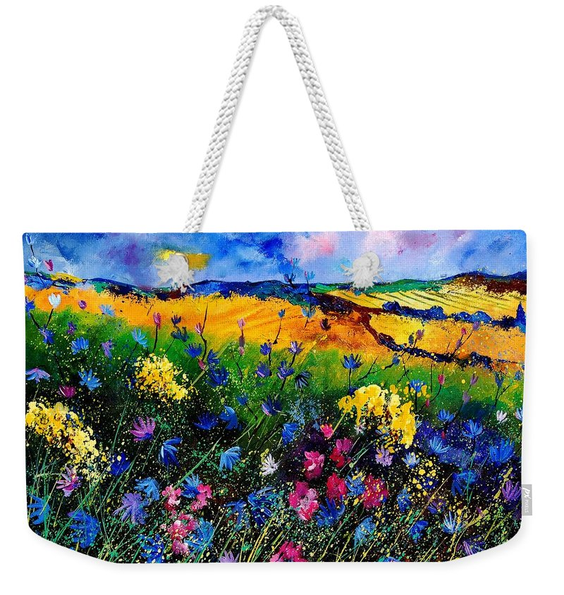 Flowers Weekender Tote Bag featuring the painting Cornflowers 680808 by Pol Ledent