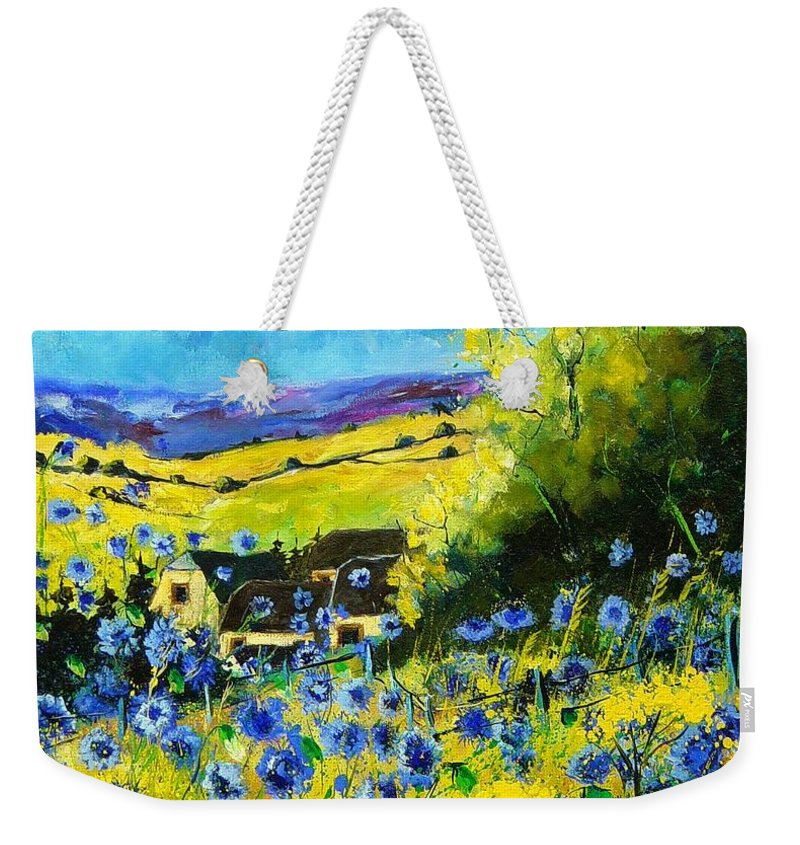 Flowers Weekender Tote Bag featuring the painting Cornflowers In Ver by Pol Ledent