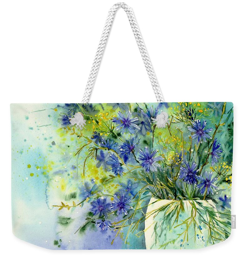 Cosmic Weekender Tote Bag featuring the painting Cornflowers Symphony by Suzann Sines