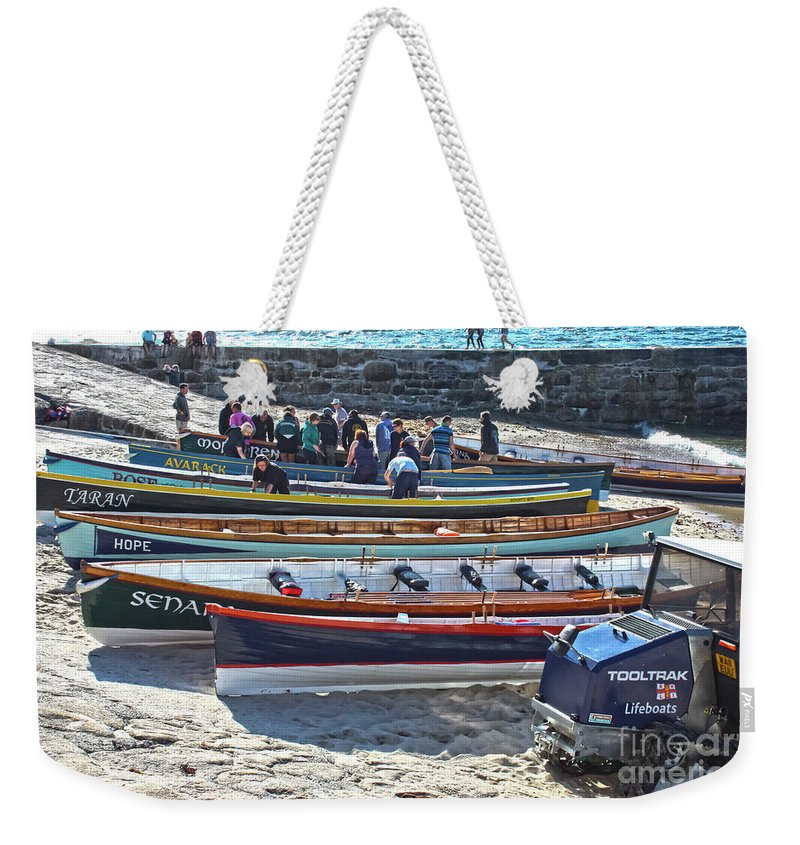 Sennen Cove Weekender Tote Bag featuring the photograph Cornish Pilot Gigs by Terri Waters